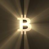 Bitcoin标志光火光 免版税库存图片