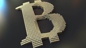 Bitcoin标志由许多做成铸造堆, 3D翻译 免版税库存照片