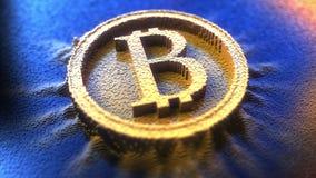 Bitcoin标志由pinart别针制成 3d翻译 库存图片