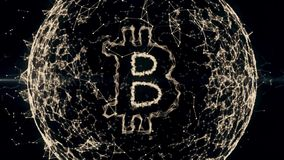 Bitcoin标志真正货币符号 最后秒钟是无缝的圈4k 股票视频