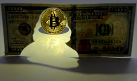 Bitcoin概念 新的世界货币 Bitcoin和si金币  库存照片