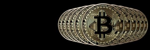 Bitcoin横幅倒栽跳水 背景币金例证查出的向量白色 与空间的Cryptocurrency为 库存图片