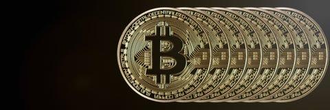 Bitcoin横幅倒栽跳水 背景币金例证查出的向量白色 与空间的Cryptocurrency为 免版税图库摄影