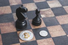 Bitcoin比美元,概念强 库存照片
