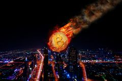 Bitcoin现贷价格落 免版税库存图片
