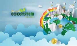 bitcoin生态系概念和地球纸艺术与environmen 库存例证
