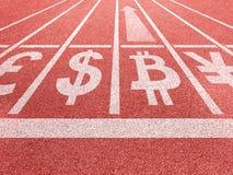 Bitcoin生长概念 在跑的踪影开始的货币符号 库存图片