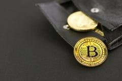 Bitcoin硬币在简单的表面无光泽的黑背景的一个黑钱包里 免版税库存图片