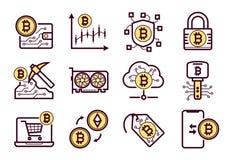 Bitcoin被设置的采矿象 皇族释放例证