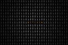 Bitcoin词有技术与二进制编码的数字式黑暗或黑背景在白色颜色1001 库存图片
