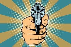 Bitcoin货币金钱财务左轮手枪在手中 图库摄影