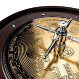 Bitcoin贸易的赌场风险轮盘赌 皇族释放例证