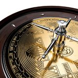 Bitcoin贸易的赌场风险轮盘赌 免版税库存图片