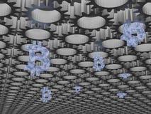 Bitcoin采矿诞生齿轮概念3d回报 免版税库存照片