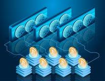 Bitcoin采矿过程 服务器农场 Blockchain技术 库存图片
