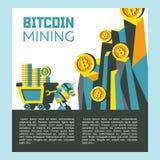 Bitcoin采矿 传染媒介概念性例证 Cryptocurrency 库存图片