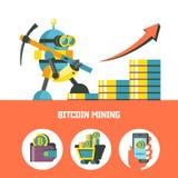 Bitcoin采矿 传染媒介概念性例证 Cryptocurrency 免版税图库摄影