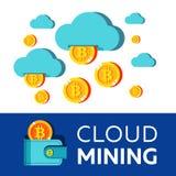 Bitcoin采矿 传染媒介概念性例证 Cryptocurrency 免版税库存照片