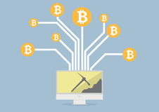 Bitcoin采矿 库存图片