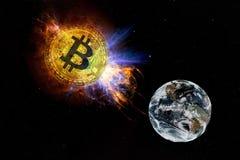 Bitcoin金币下跌对从空间的地面 皇族释放例证