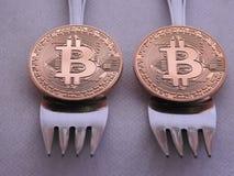 Bitcoin难软的叉子 免版税库存照片