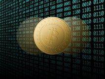 Bitcoin,在个人计算机在服务器屋子,金黄硬币,拷贝空间, datacenter,美元的litecoin ethereum 企业概念:cryptocurren 库存图片