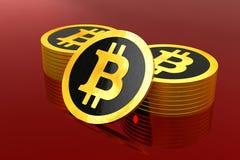 Bitcoin,多枚硬币有红色背景 库存照片
