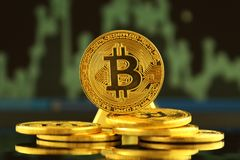 Bitcoin,新的真正金钱的物理版本 免版税图库摄影