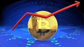 Bitcoin,网上现金,数字式金钱,网络货币,关闭,金黄硬币,蓝色数字式背景 库存照片