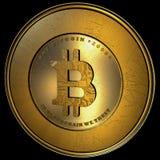 Bitcoin,被隔绝的现实金黄 库存照片