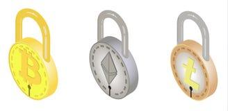 bitcoin, ethereum, litecoin概念,传染媒介设计安全锁  库存照片