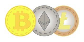 Bitcoin, Ethereum, Litecoin 库存图片