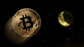 Bitcoin à la lune, commerce conceptuel d'une valeur d'augmentation explosive du crypto bitcoin numérique de devise Photos libres de droits