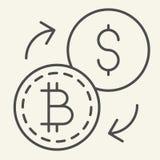 Bitcoin à linha fina ícone da troca de dólar Ilustração do vetor da troca de Cryptocurrency isolada no branco Cryptocoin e ilustração stock