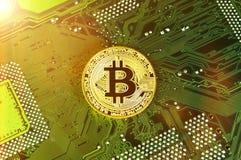 Bitcoin är en modern väg av utbytet och denna crypto valuta Royaltyfria Foton