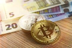 Bitcoin är en modern väg av utbytet och denna crypto valuta Arkivfoton