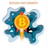 Bitcoin è a crescita rapida Il sistema finanziario di Cryptocurrency si sviluppa Fotografie Stock
