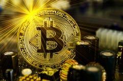 Bitcoin é uma maneira moderna de troca e desta moeda cripto Imagens de Stock