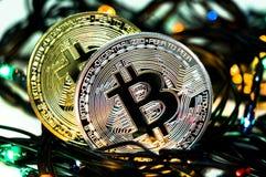 Bitcoin é uma maneira moderna de troca e desta moeda cripto Imagem de Stock Royalty Free