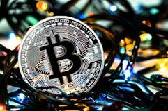 Bitcoin é uma maneira moderna de troca e desta moeda cripto Fotos de Stock