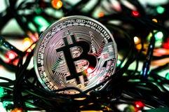 Bitcoin é uma maneira moderna de troca e desta moeda cripto Imagens de Stock Royalty Free