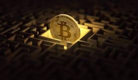 Bitcoin που χάνεται στο σκοτεινό λαβύρινθο Προβλήματα και δυσκολίες γύρω από την έννοια cyptocurrencies τρισδιάστατη απόδοση απεικόνιση αποθεμάτων