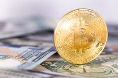 Bitcoin on dollars Royalty Free Stock Photography