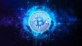 Bitcoin über der Welt lizenzfreie stockfotos