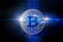 Bitcoin świateł cyfrowy komponować Zdjęcia Stock