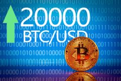 Bitcoin Αρχείο τιμών αγοράς bitcoin - είκοσι χιλιάες 20000 αμερικανικά δολάρια Στοκ Εικόνα
