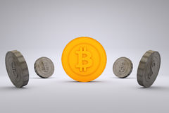 Bitcoin εναντίον των παγκόσμιων νομισμάτων Στοκ φωτογραφίες με δικαίωμα ελεύθερης χρήσης