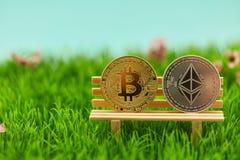 Bitcoin και νόμισμα αιθέρα στην τράπεζα ως επένδυση στοκ εικόνα