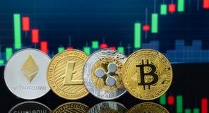 Bitcoin και cryptocurrency που επενδύουν την έννοια στοκ εικόνες
