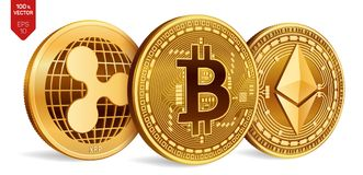 Bitcoin κυμάτωση Ethereum τρισδιάστατα isometric φυσικά νομίσματα Ψηφιακό νόμισμα Cryptocurrency Χρυσά νομίσματα με το bitcoin, κ απεικόνιση αποθεμάτων